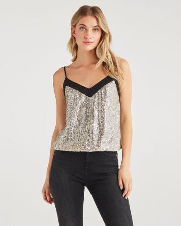 7 For All Mankind Women's Sequin Cami In Silver