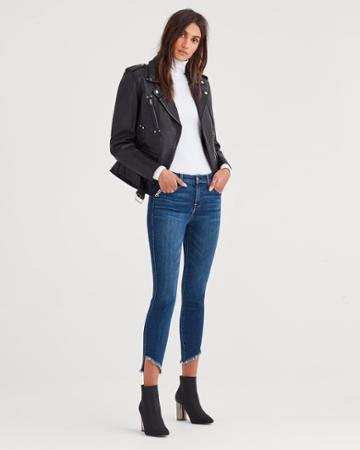 7 For All Mankind Ankle Skinny With Frayed Angled Hem In Glam Medium