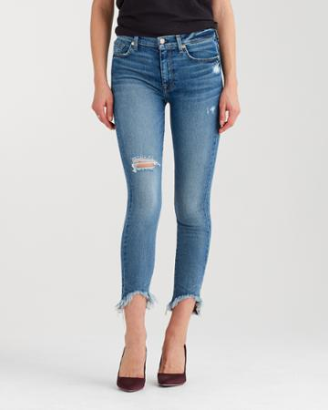 7 For All Mankind High Waist Ankle Skinny With Destroy And Wave Hem In Canyon Ranch