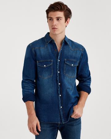 7 For All Mankind Long Sleeve Trucker Shirt