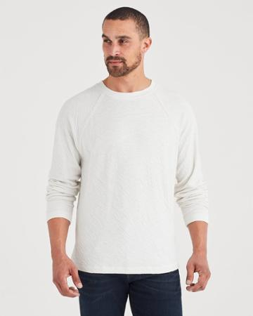 7 For All Mankind Long Sleeve Double Knit Raglan Tee In Winter White