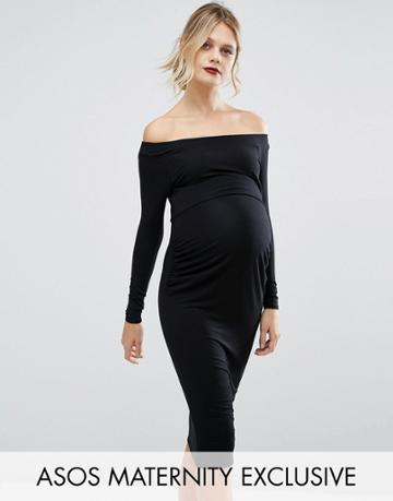 Asos Maternity Bardot Dress With Long Sleeve - Black