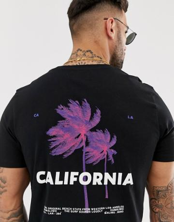 Jack & Jones Originals Cali Back Print T-shirt In Black - Black