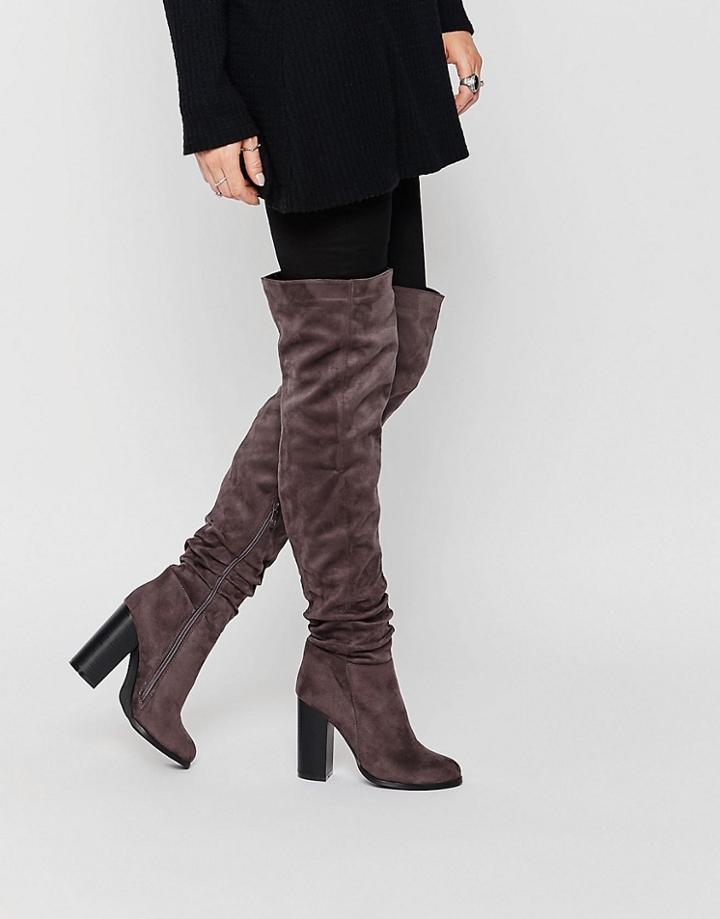 Public Desire Hope Block Heeled Thigh High Boots - Gray Suede