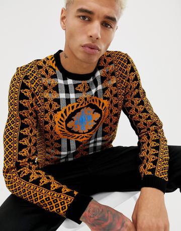 Asos Design Sweater In Baroque Design - Black