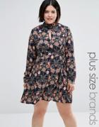 Ax Paris Plus Skater Dress In Floral Print - Multi