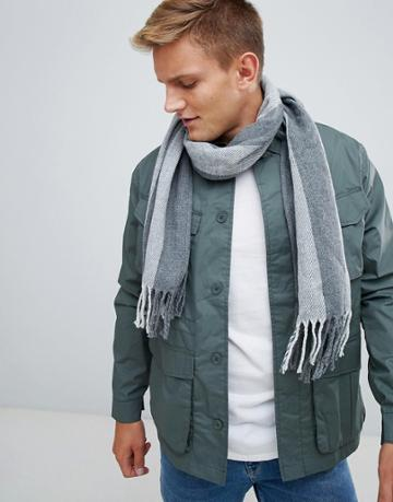 Esprit Knitted Striped Scarf - Gray