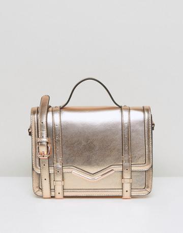 Asos V-bar Structured Satchel Bag - Gold