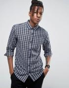 Only & Sons Brushed Cotton Check Shirt - Navy