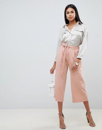 Asos Design Culotte With Tie Waist - Pink