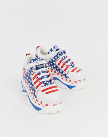 Buffalo London Classic Lowtop Sneakers In Usa Flag Print-white