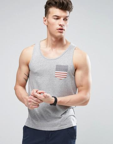 Brave Soul Usa Pocket Tank - Gray