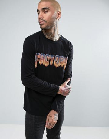Factory Doom Logo Oversized Long Sleeve T-shirt - Black