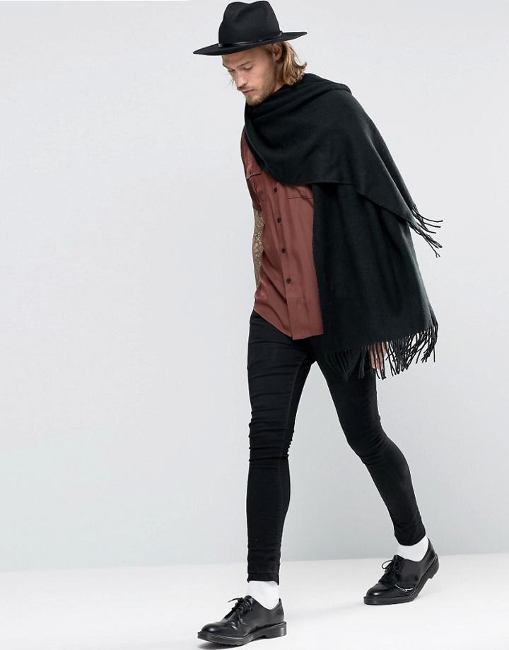 Asos Woven Blanket Scarf In Black - Black