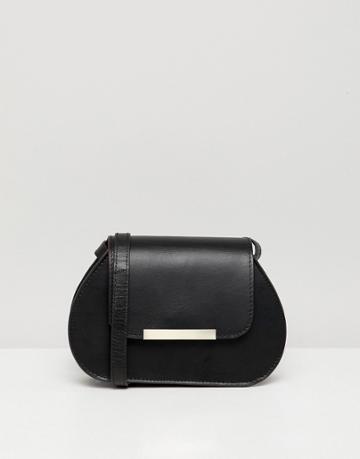 Asos Design Mini Leather Saddle Bag With Bar Detail - Black
