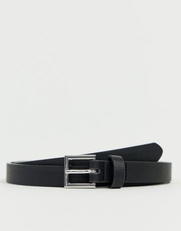 Asos Smart Faux Leather Super Skinny Belt In Black - Black