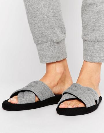 Asos New York Padded Loungewear Slippers - Gray