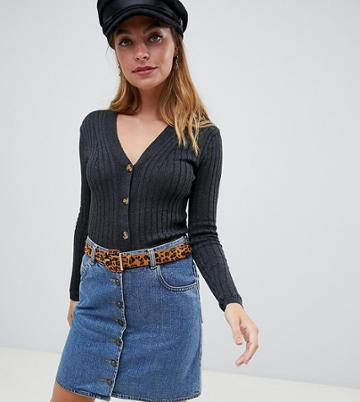 New Look Petite Button Through Top In Gray - Gray