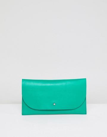 Asos Design Leather Stud Foldover Purse - Green