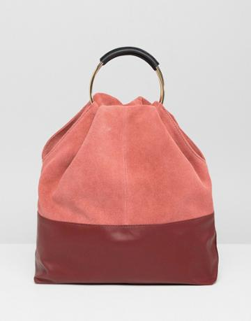 Asos Design Suede And Leather Mix Grab Shopper Bag - Red