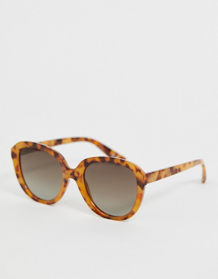 Asos Design Oversized Round Sunglasses In Tort With Polarised Lens-brown