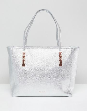 Ted Baker Soft Leather Tote With Zip - Silver