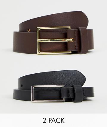 Asos Design 2 Pack Faux Leather Smart Slim Belt In Black And Brown Save - Multi
