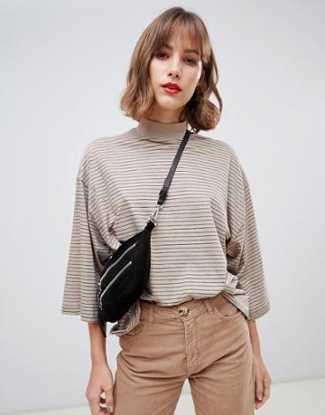 Stradivarius Str Striped High Neck Top In Beige - Beige