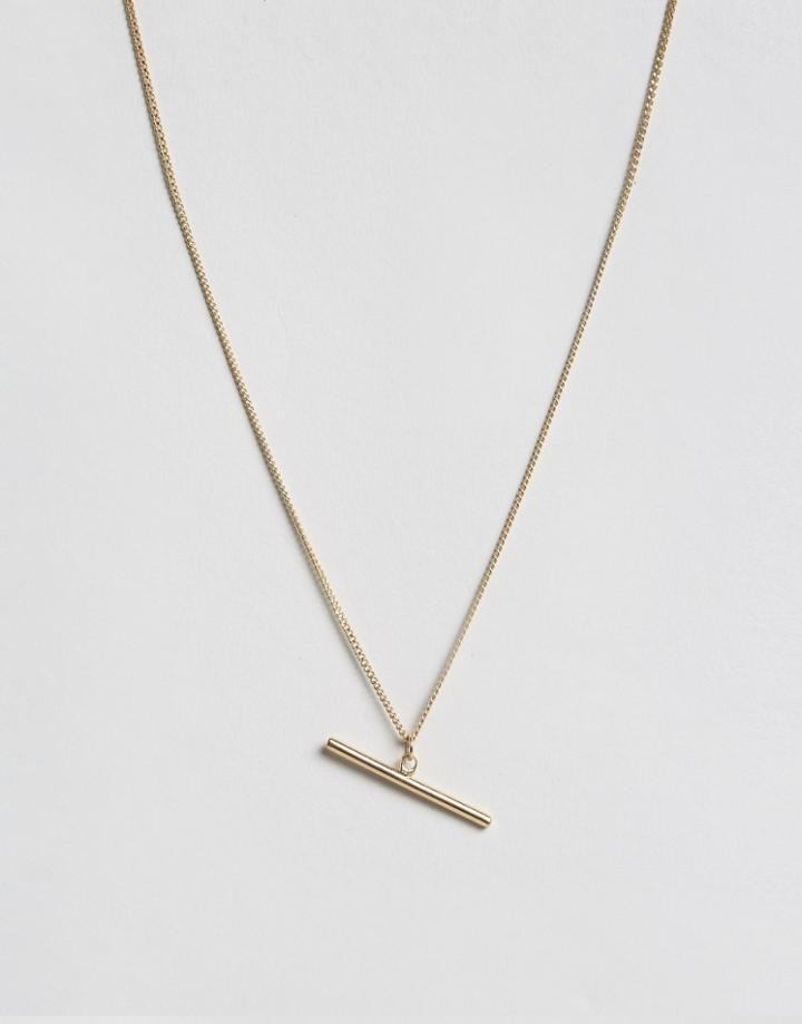 Asos Brass Plated T-bar Necklace - Gold