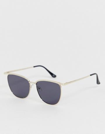 Asos Design Retro Sunglasses With Gold Frame And Black Lenses - Gold