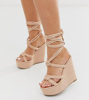 Asos Design Wide Fit Will Power Rope Wedges In Rose Gold - Beige