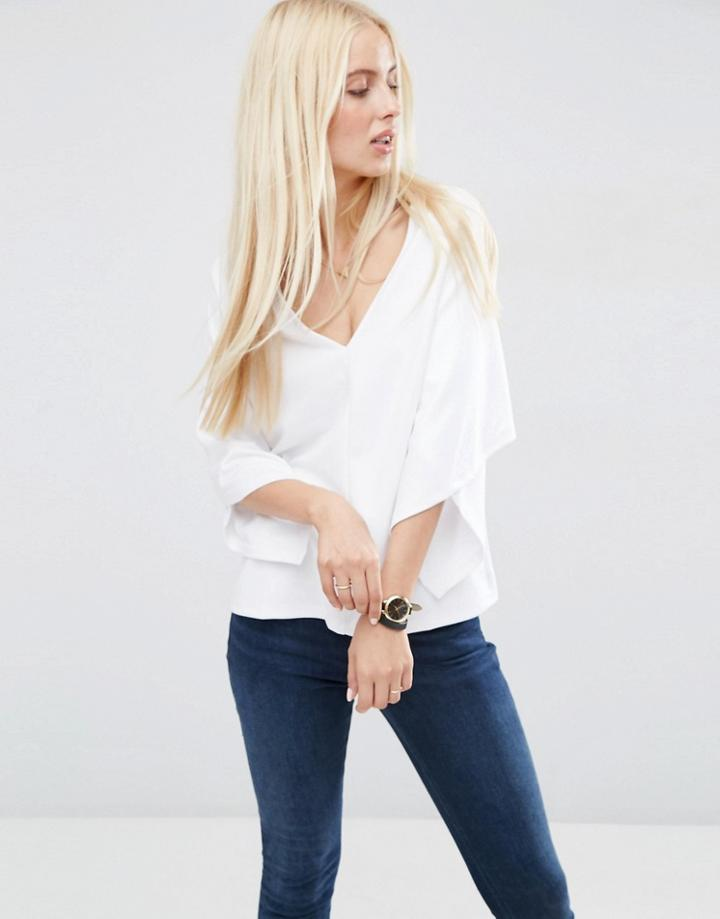 Asos Shell Top With Wrap Sleeve - White