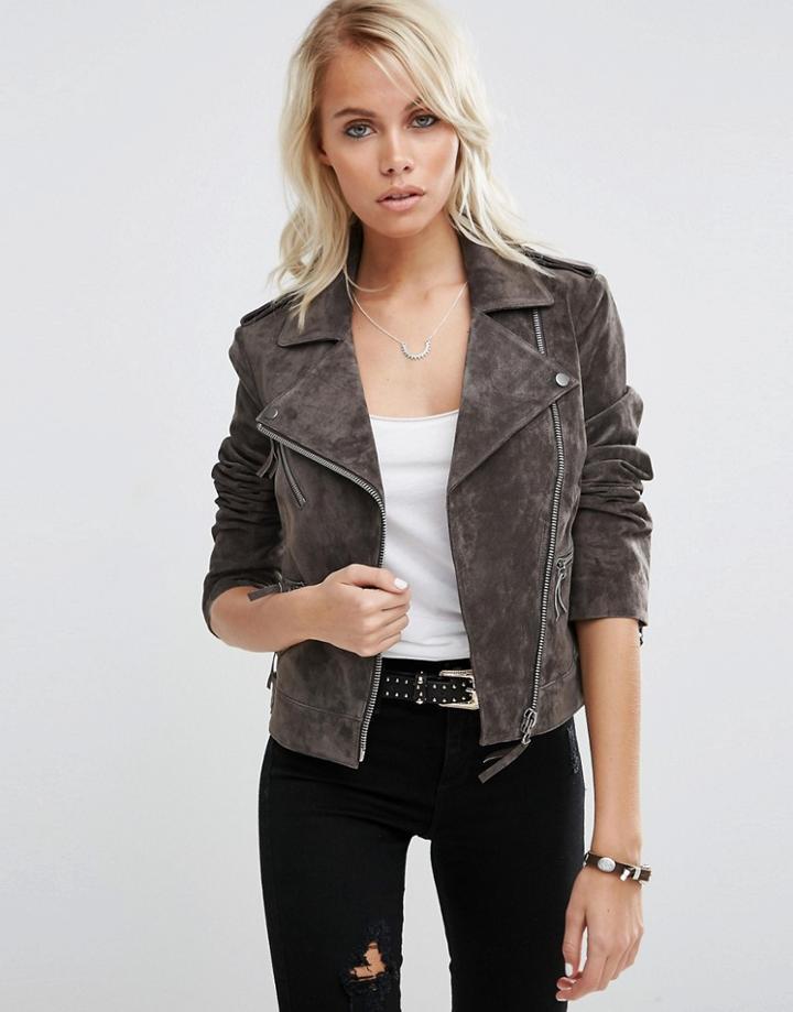Asos Suede Biker Jacket - Gray
