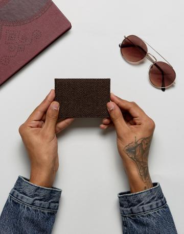 Heart & Dagger Tweed Cardholder - Brown