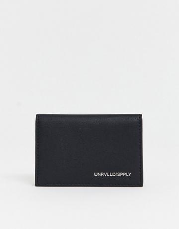 Asos Design Leather Cardholder With Contrast Internal In Black And Camel