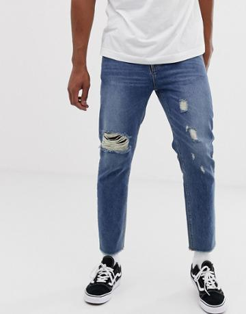 Collusion X003 Tapered Jeans With Knee Rips In Mid Wash - Blue