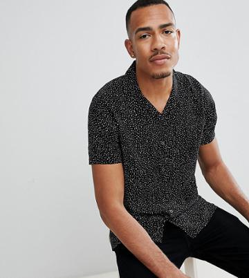 Jacamo Tall Revere Collar Shirt In Black Spot - Black