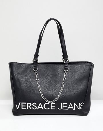 Versace Jeans Contrast Logo Tote Bag With Internal Pockets - Black