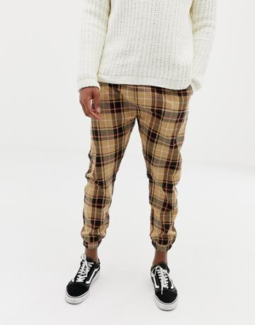 Bershka Joggers In Tan Check - Tan