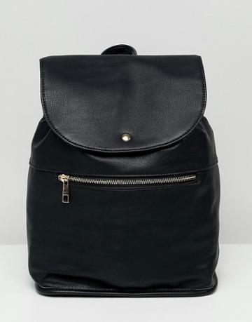 Asos Design Soft Backpack With Zip Detail - Black