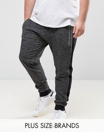 Jacamo Plus Skinny Joggers In Gray Marl - Gray