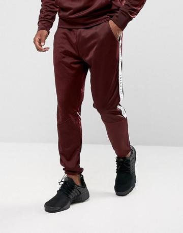 Illusive London Skinny Track Joggers In Burgundy With Taping - Red