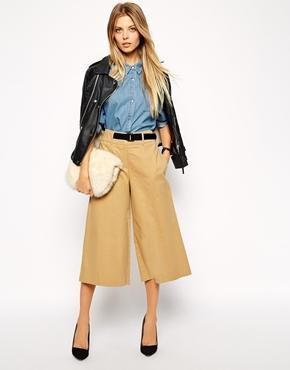 Asos Longline Culotte With Belt And Buckle Detail - Brown