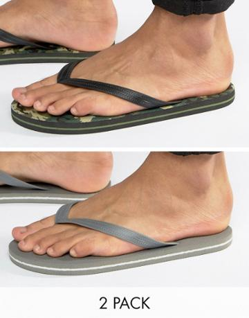 Asos Flip Flops 2 Pack In Camo And Gray Save - Multi