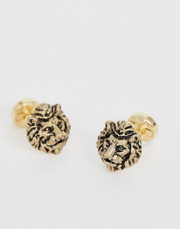 Twisted Tailor Lion Cufflinks In Gold - Gold