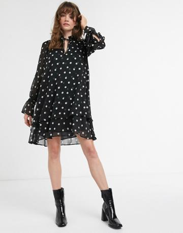 & Other Stories Polka Dot Mini Smock Dress In Black-beige