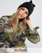 Reclaimed Vintage Bow Top Beanie - Black