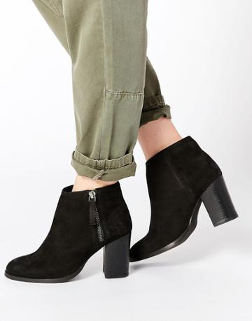 Asos Everybodys Fool Leather Ankle Boots - Black