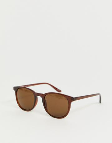 Selected Homme Eco Friendly Sunglasses With Brown Lens And Frame - Gold