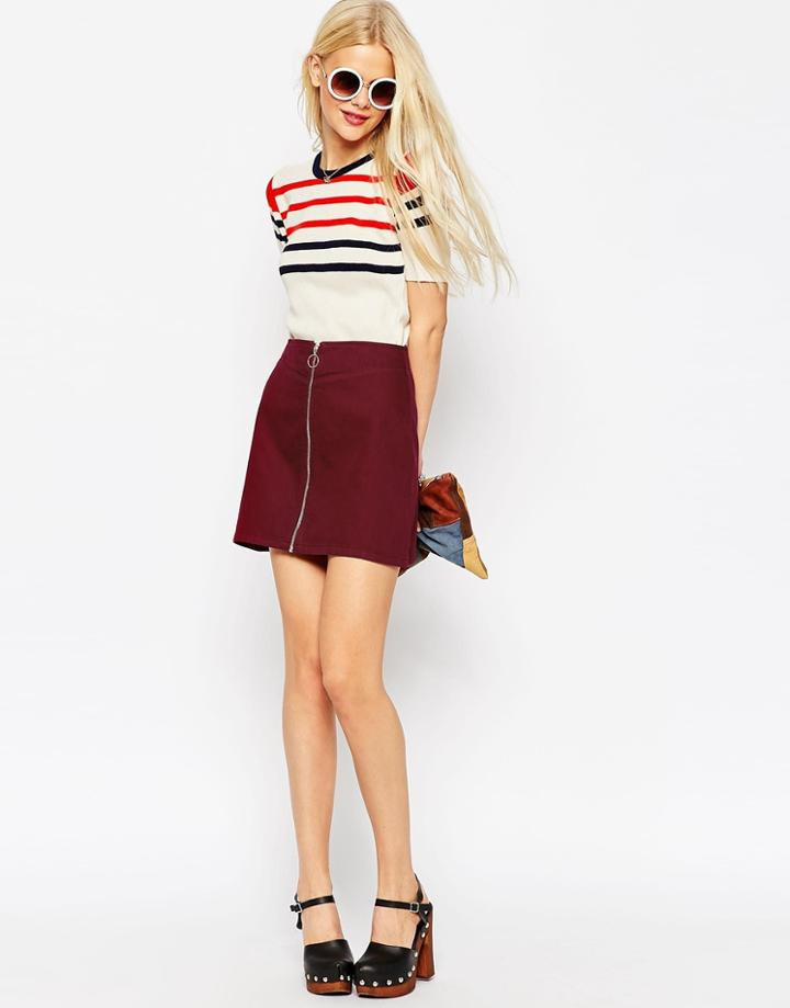 Asos Denim Aline Skirt With Zip Front In Oxblood - Red